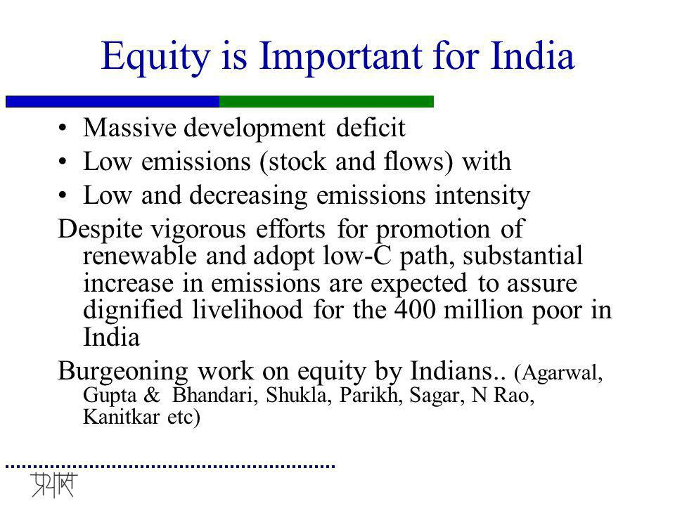 Equity is Important for India Massive development deficit Low emissions (stock and flows) with Low and decreasing emissions intensity Despite vigorous