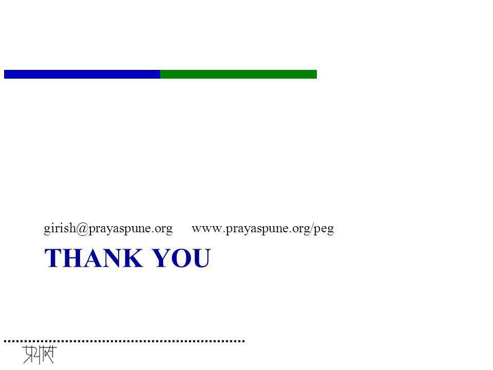THANK YOU girish@prayaspune.org www.prayaspune.org/peg
