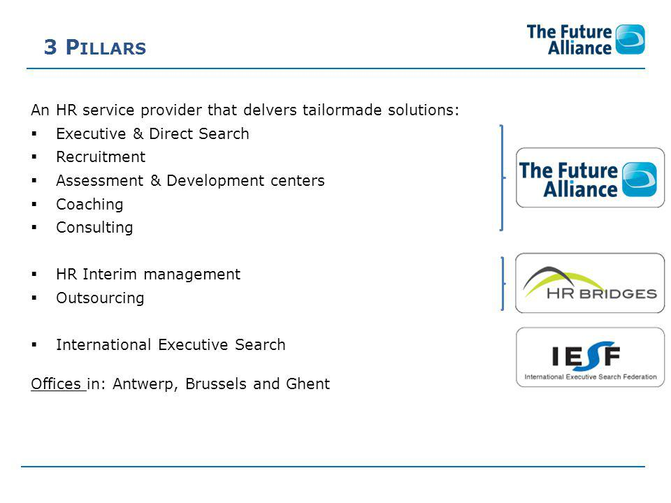 3 P ILLARS An HR service provider that delvers tailormade solutions:  Executive & Direct Search  Recruitment  Assessment & Development centers  Coaching  Consulting  HR Interim management  Outsourcing  International Executive Search Offices in: Antwerp, Brussels and Ghent