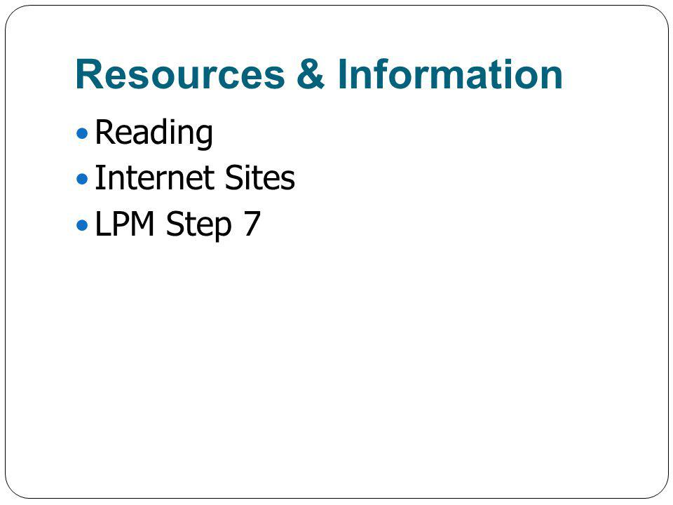 Resources & Information Reading Internet Sites LPM Step 7