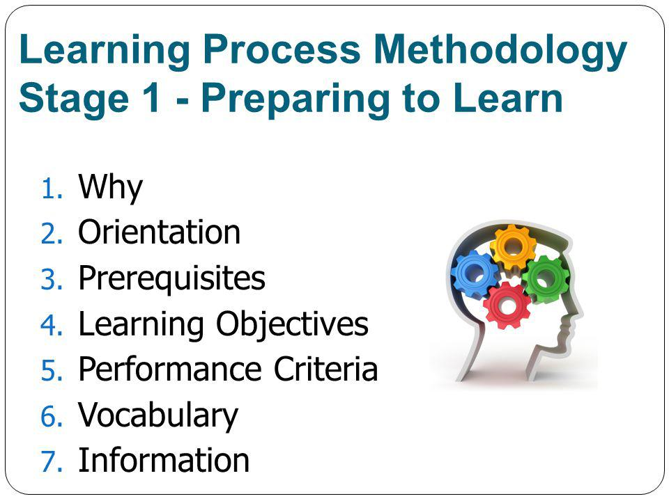Learning Process Methodology Stage 1 - Preparing to Learn 1.