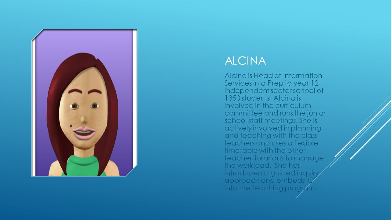 ALCINA Alcina is Head of Information Services in a Prep to year 12 independent sector school of 1350 students.