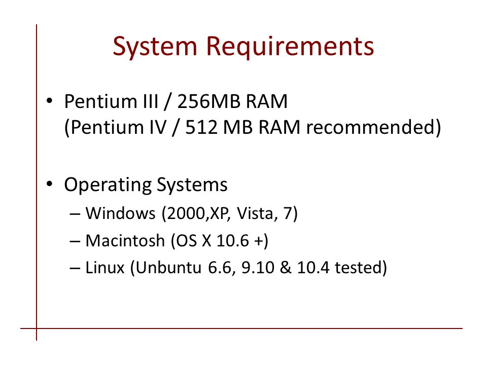System Requirements Pentium III / 256MB RAM (Pentium IV / 512 MB RAM recommended) Operating Systems – Windows (2000,XP, Vista, 7) – Macintosh (OS X 10.6 +) – Linux (Unbuntu 6.6, 9.10 & 10.4 tested)
