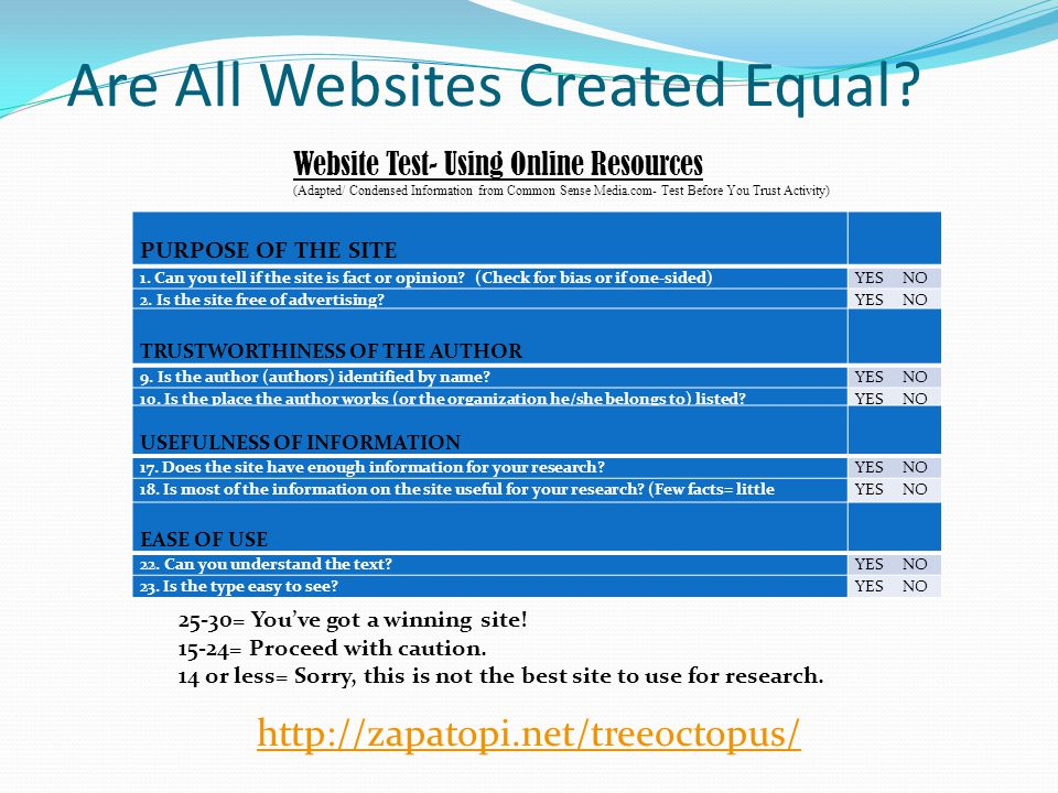 Are All Websites Created Equal. http://zapatopi.net/treeoctopus/ PURPOSE OF THE SITE 1.