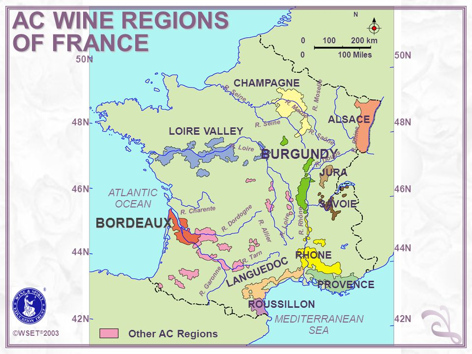 AC WINE REGIONS OF FRANCE N 0 100 200 km 0 100 Miles CHAMPAGNE ALSACE LOIRE VALLEY BURGUNDY JURA SAVOIE BORDEAUX RHONE PROVENCE LANGUEDOC ROUSSILLON M