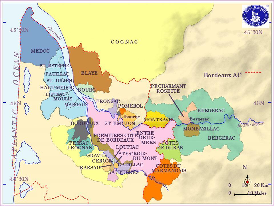 45´30N 45N 44´30N 45N 45´30N Bordeaux AC N 0 10 20 Km 0 10 Miles BOURG BLAYE FRONSAC POMEROL ST.