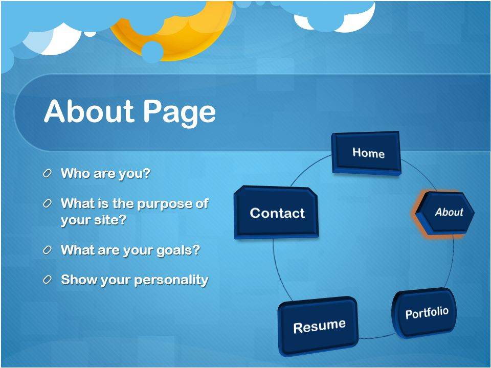 About Page Who are you. What is the purpose of your site.