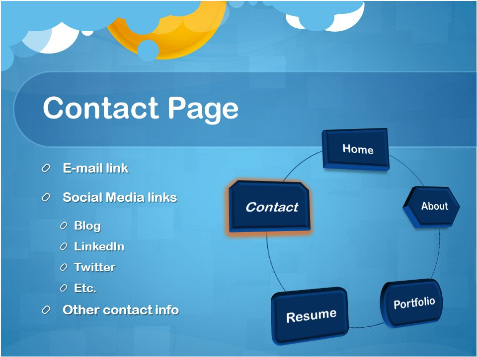 Contact Page E-mail link E-mail link Social Media links Social Media linksBlogLinkedInTwitterEtc.