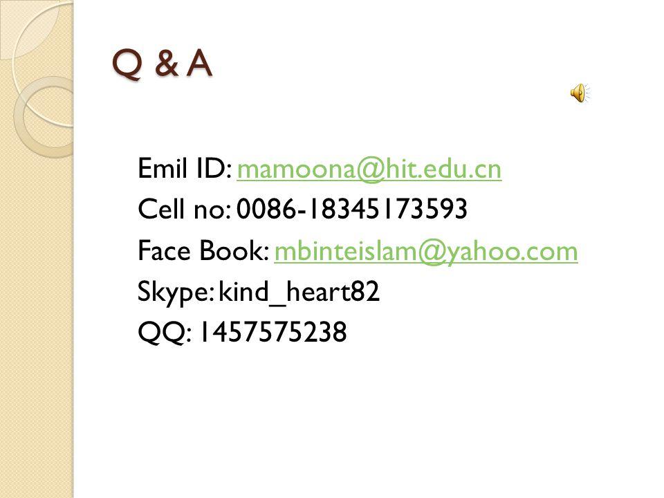 Q & A Emil ID: mamoona@hit.edu.cnmamoona@hit.edu.cn Cell no: 0086-18345173593 Face Book: mbinteislam@yahoo.commbinteislam@yahoo.com Skype: kind_heart82 QQ: 1457575238