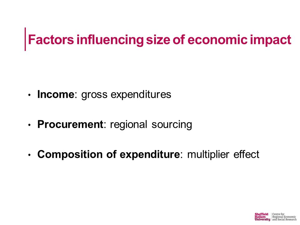 Factors influencing size of economic impact Income: gross expenditures Procurement: regional sourcing Composition of expenditure: multiplier effect