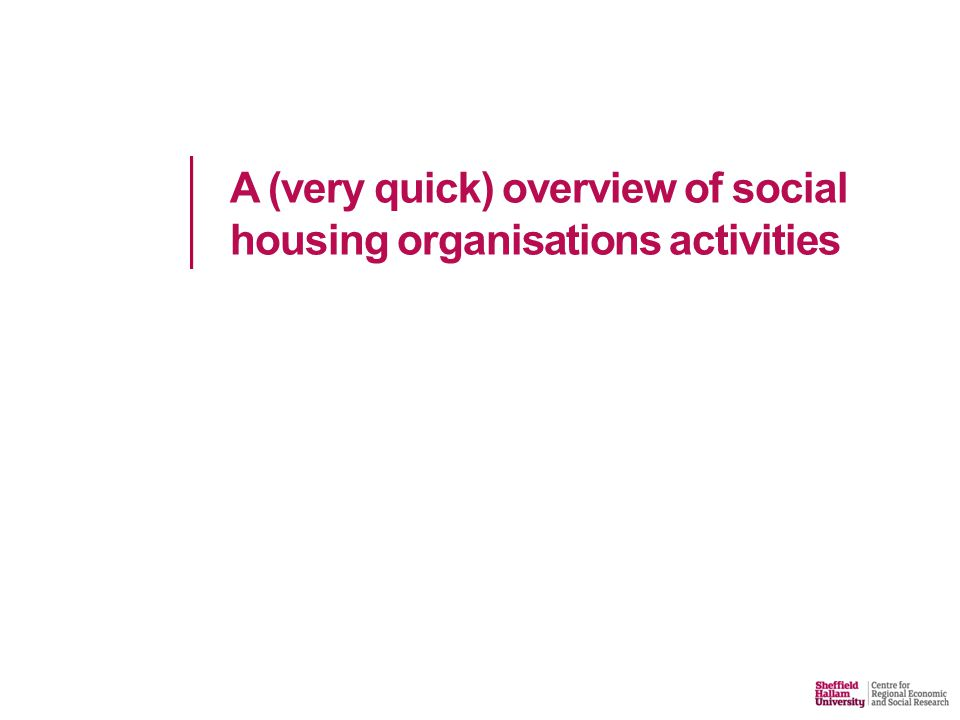 A (very quick) overview of social housing organisations activities