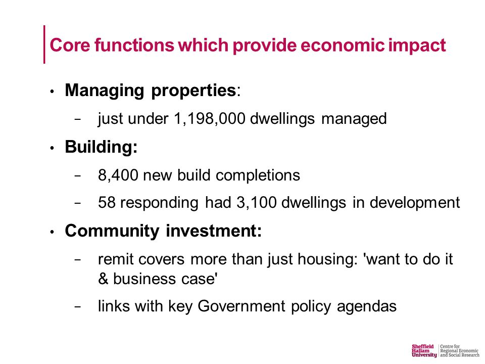 Managing properties: − just under 1,198,000 dwellings managed Building: − 8,400 new build completions − 58 responding had 3,100 dwellings in development Community investment: − remit covers more than just housing: want to do it & business case − links with key Government policy agendas Core functions which provide economic impact