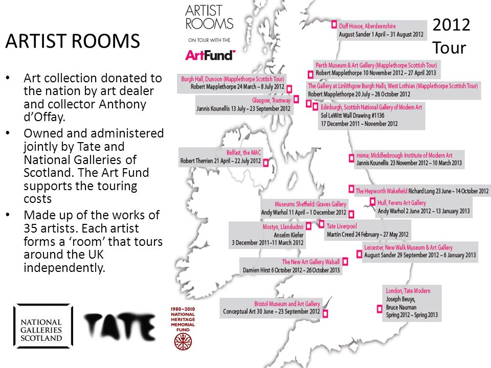 ARTIST ROOMS and young people Aim To engage 'new' young audiences (13 – 25 years old) across the UK with the ARTIST ROOMS collection and artists in a meaningful and enjoyable way.