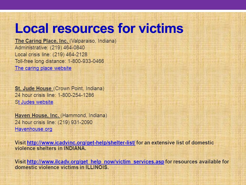 Local resources for victims The Caring Place, Inc.