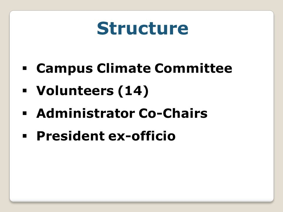 Structure  Campus Climate Committee  Volunteers (14)  Administrator Co-Chairs  President ex-officio