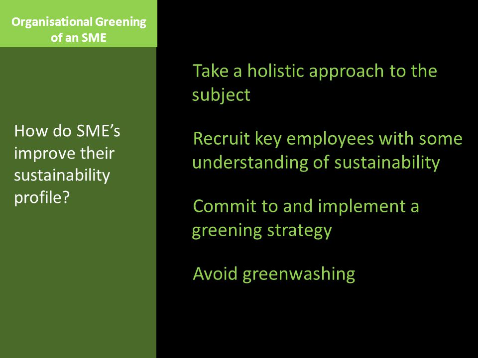 Organisational Greening of an SME Take a holistic approach to the subject Recruit key employees with some understanding of sustainability Commit to and implement a greening strategy Avoid greenwashing How do SME's improve their sustainability profile?