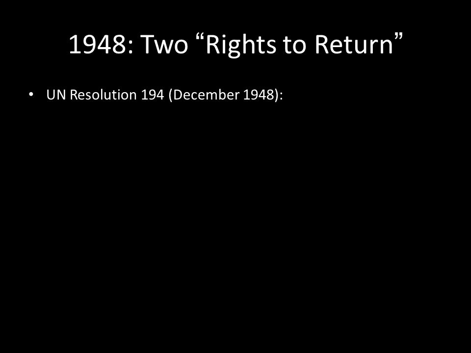 UN Resolution 194 (December 1948):