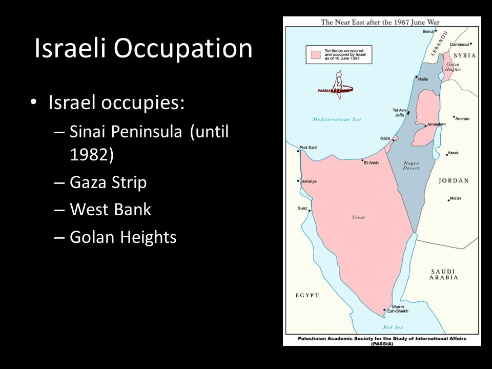 Israeli Occupation Israel occupies: – Sinai Peninsula (until 1982) – Gaza Strip – West Bank – Golan Heights