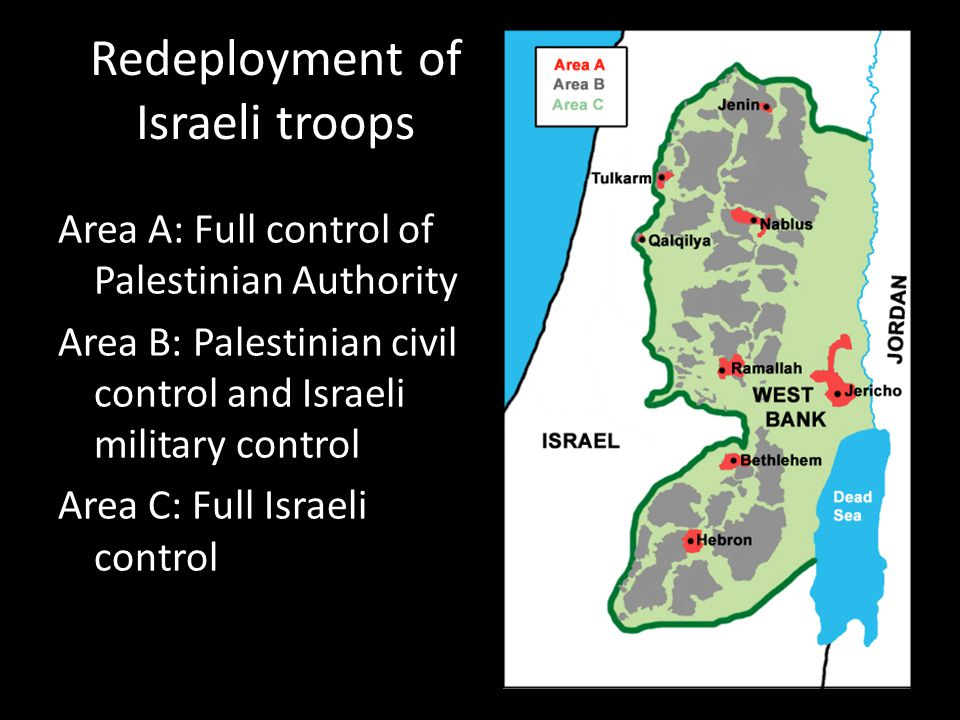 Redeployment of Israeli troops Area A: Full control of Palestinian Authority Area B: Palestinian civil control and Israeli military control Area C: Fu