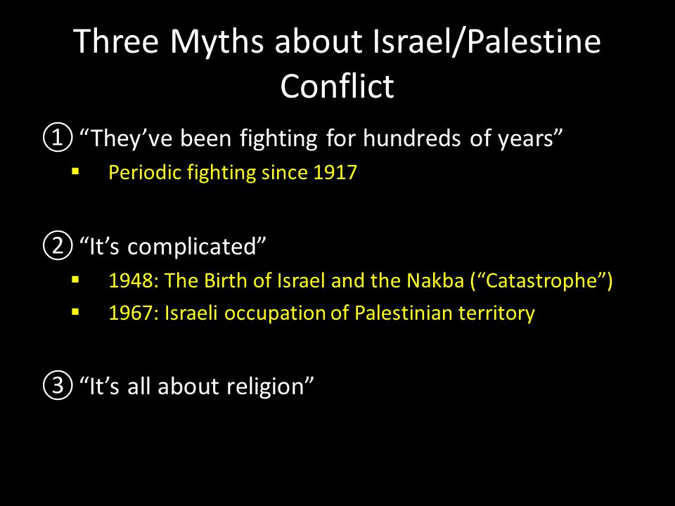 Three Myths about Israel/Palestine Conflict ① They've been fighting for hundreds of years  Periodic fighting since 1917 ② It's complicated  1948: The Birth of Israel and the Nakba ( Catastrophe )  1967: Israeli occupation of Palestinian territory ③ It's all about religion  It's mostly about land