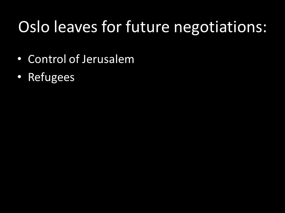 Oslo leaves for future negotiations: Control of Jerusalem Refugees