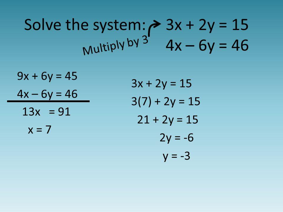 Solve the system:3x + 2y = 15 4x – 6y = 46 Multiply by 3 13x = 91 x = 7 9x + 6y = 45 4x – 6y = 46 3x + 2y = 15 3(7) + 2y = 15 21 + 2y = 15 2y = -6 y = -3