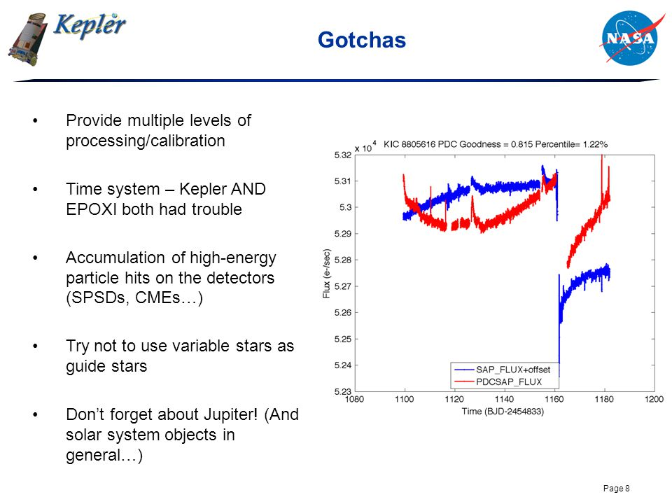 Page 8 Gotchas Provide multiple levels of processing/calibration Time system – Kepler AND EPOXI both had trouble Accumulation of high-energy particle hits on the detectors (SPSDs, CMEs…) Try not to use variable stars as guide stars Don't forget about Jupiter.