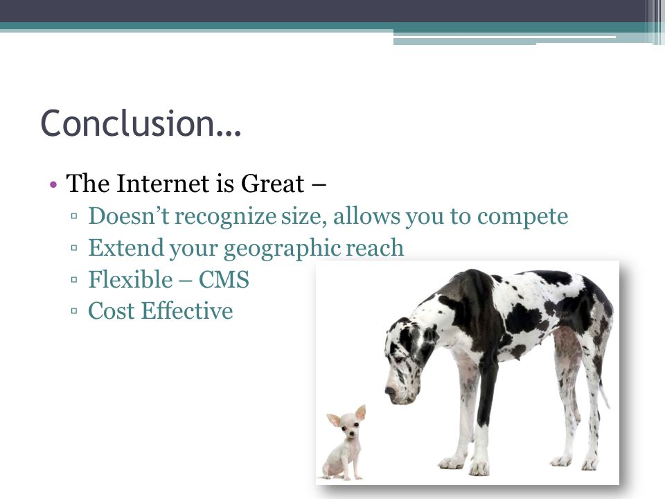Conclusion… The Internet is Great – ▫Doesn't recognize size, allows you to compete ▫Extend your geographic reach ▫Flexible – CMS ▫Cost Effective