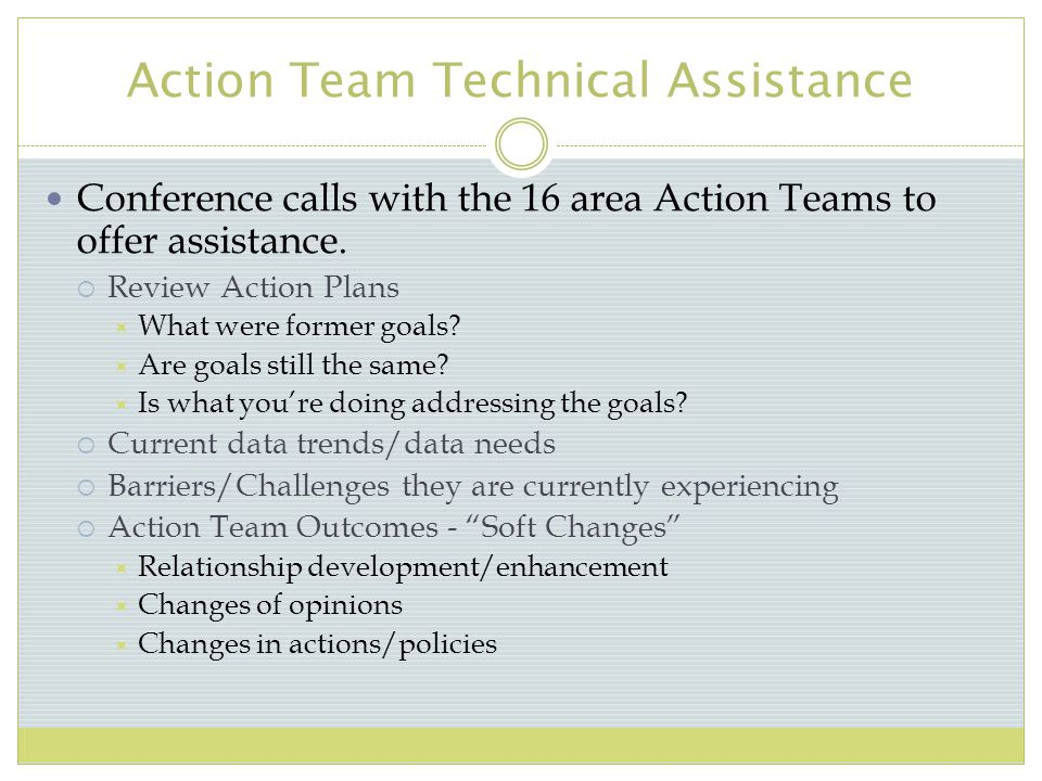 Action Team Technical Assistance Conference calls with the 16 area Action Teams to offer assistance.