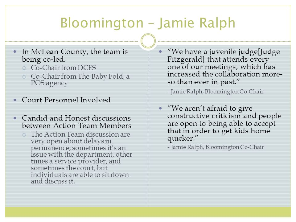 Bloomington – Jamie Ralph In McLean County, the team is being co-led.
