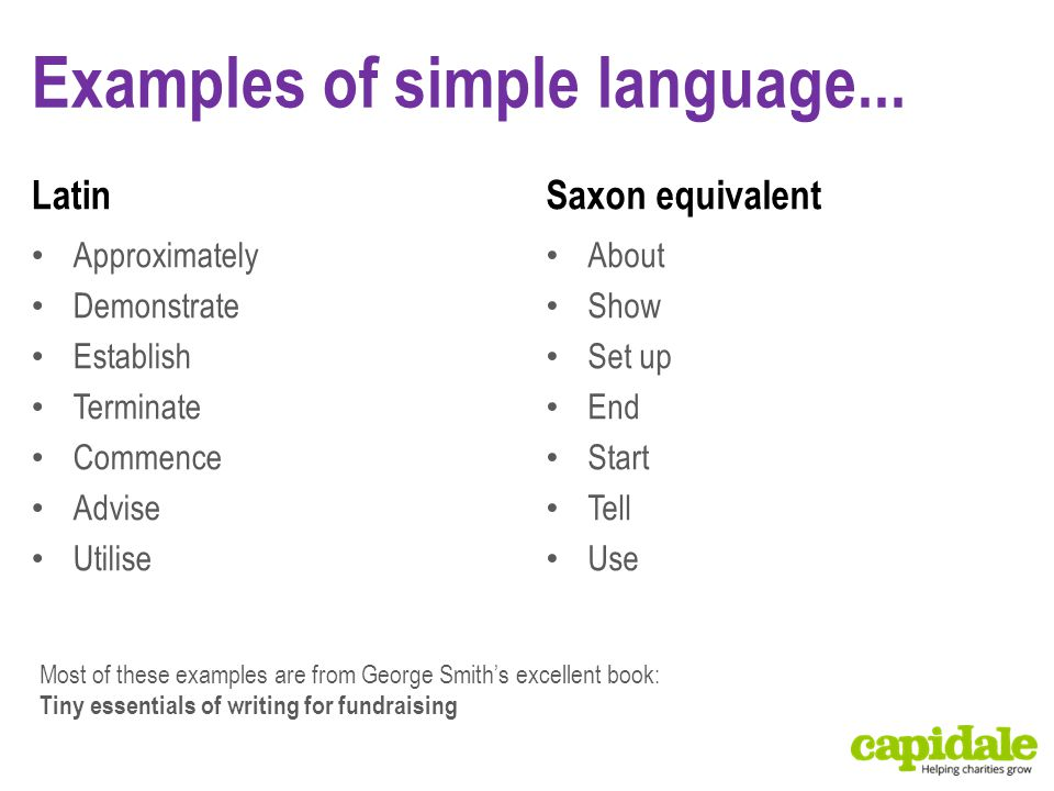 Examples of simple language... Latin Approximately Demonstrate Establish Terminate Commence Advise Utilise Saxon equivalent About Show Set up End Star