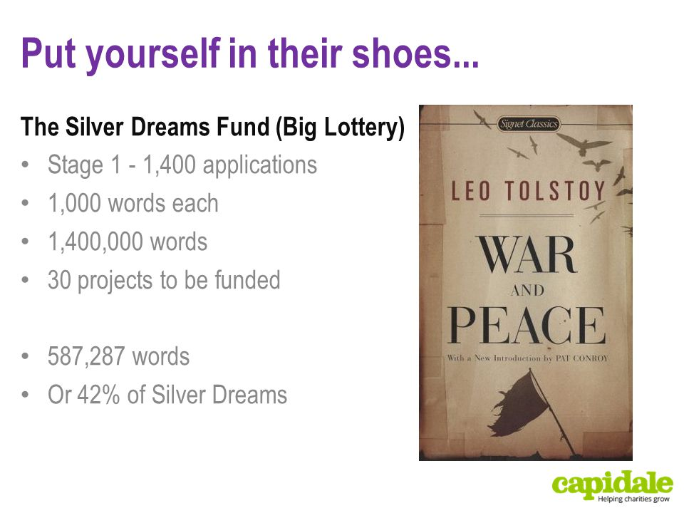 Put yourself in their shoes... The Silver Dreams Fund (Big Lottery) Stage 1 - 1,400 applications 1,000 words each 1,400,000 words 30 projects to be fu