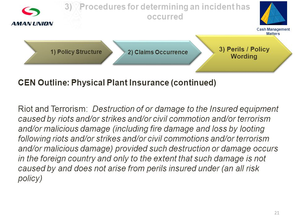1) Policy Structure Cash Management Matters 3)Procedures for determining an incident has occurred 2) Claims Occurrence 3) Perils / Policy Wording Riot and Terrorism: Destruction of or damage to the Insured equipment caused by riots and/or strikes and/or civil commotion and/or terrorism and/or malicious damage (including fire damage and loss by looting following riots and/or strikes and/or civil commotions and/or terrorism and/or malicious damage) provided such destruction or damage occurs in the foreign country and only to the extent that such damage is not caused by and does not arise from perils insured under (an all risk policy) 21 CEN Outline: Physical Plant Insurance (continued)