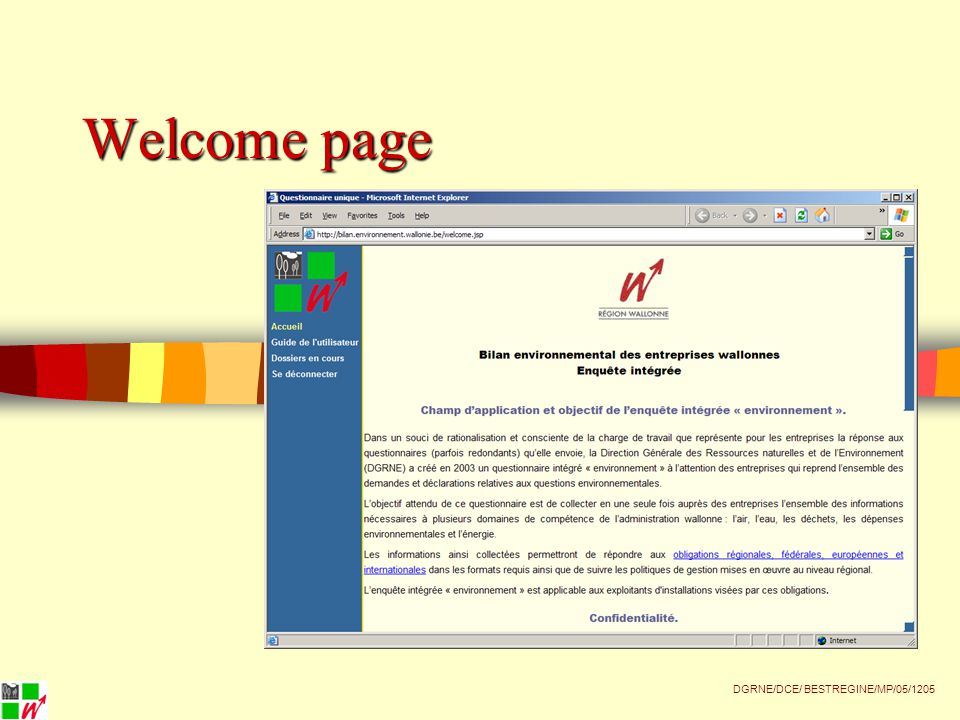Welcome page DGRNE/DCE/ BESTREGINE/MP/05/1205