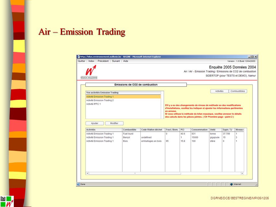Air – Emission Trading DGRNE/DCE/ BESTREGINE/MP/05/1205