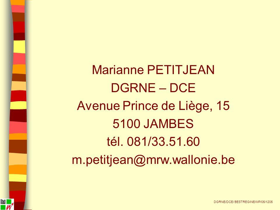 Marianne PETITJEAN DGRNE – DCE Avenue Prince de Liège, 15 5100 JAMBES tél.