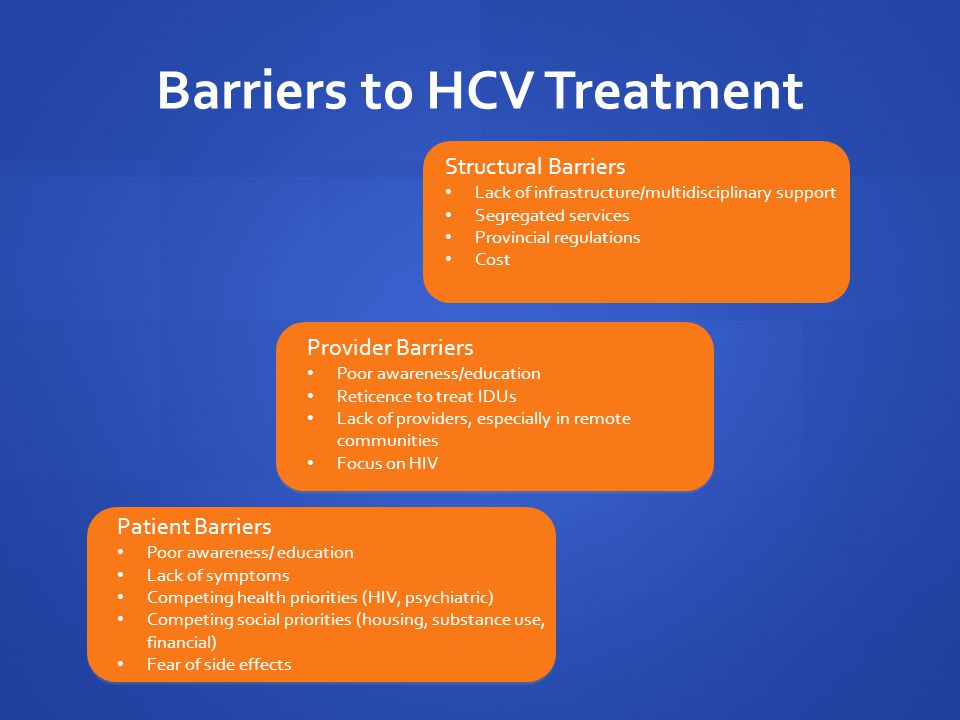 Example: Overcoming structural barriers: Integrated care / co-location of HCV & Substance abuse treatment Co-location of HCV care with methadone maintenance has been associated with favorable outcomes (One-stop shopping) Integrated services for HCV, addiction, mental health and psychosocial problems Some programs Incorporate peer educators Peer educators are patients who have successfully completed HCV treatment Peers lead support groups with medical providers Provide support through all stages from HCV screening to treatment Sylvestre 2007; Harris 2010; Litwin 2007; Edllin 2006; Grebely 2010.