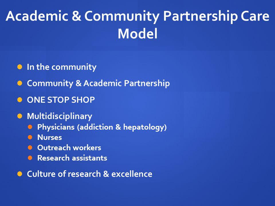 Academic & Community Partnership Care Model In the community Community & Academic Partnership ONE STOP SHOP Multidisciplinary Physicians (addiction &