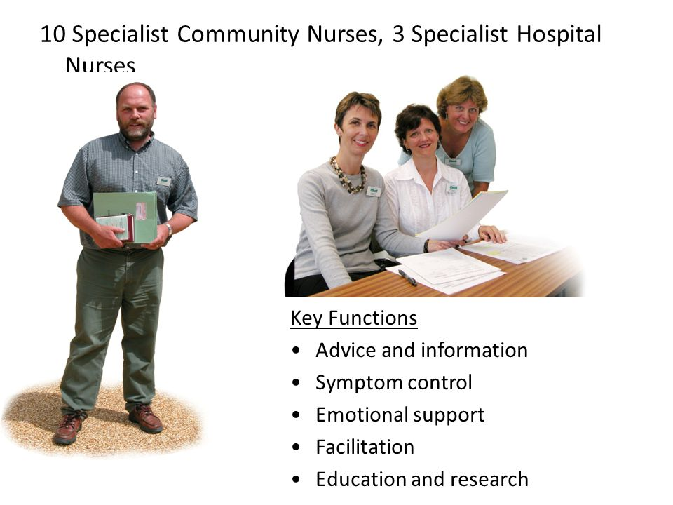 10 Specialist Community Nurses, 3 Specialist Hospital Nurses Key Functions Advice and information Symptom control Emotional support Facilitation Educa