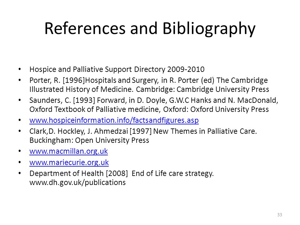 References and Bibliography Hospice and Palliative Support Directory 2009-2010 Porter, R.