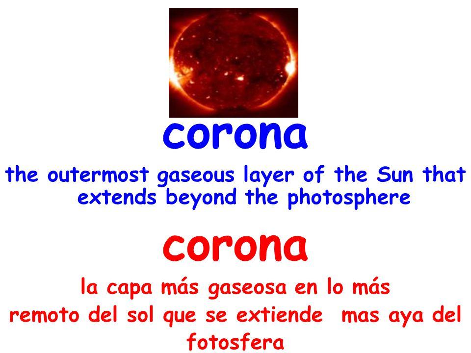 corona the outermost gaseous layer of the Sun that extends beyond the photosphere corona la capa más gaseosa en lo más remoto del sol que se extiende mas aya del fotosfera