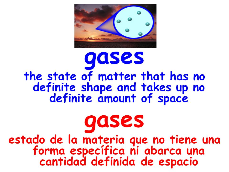 gases the state of matter that has no definite shape and takes up no definite amount of space gases estado de la materia que no tiene una forma especí