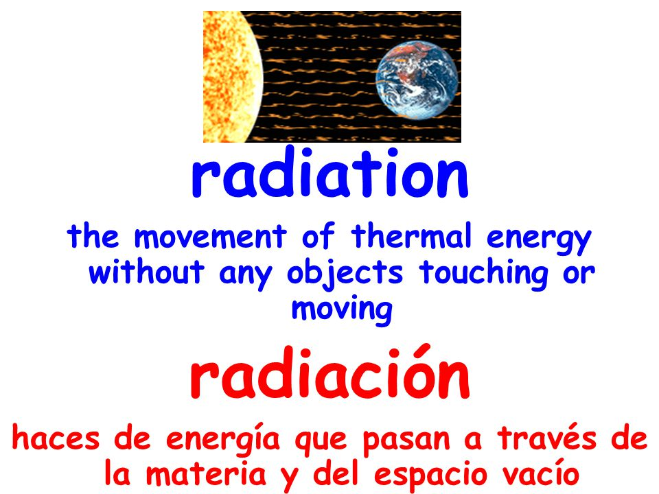 radiation the movement of thermal energy without any objects touching or moving radiación haces de energía que pasan a través de la materia y del espacio vacío