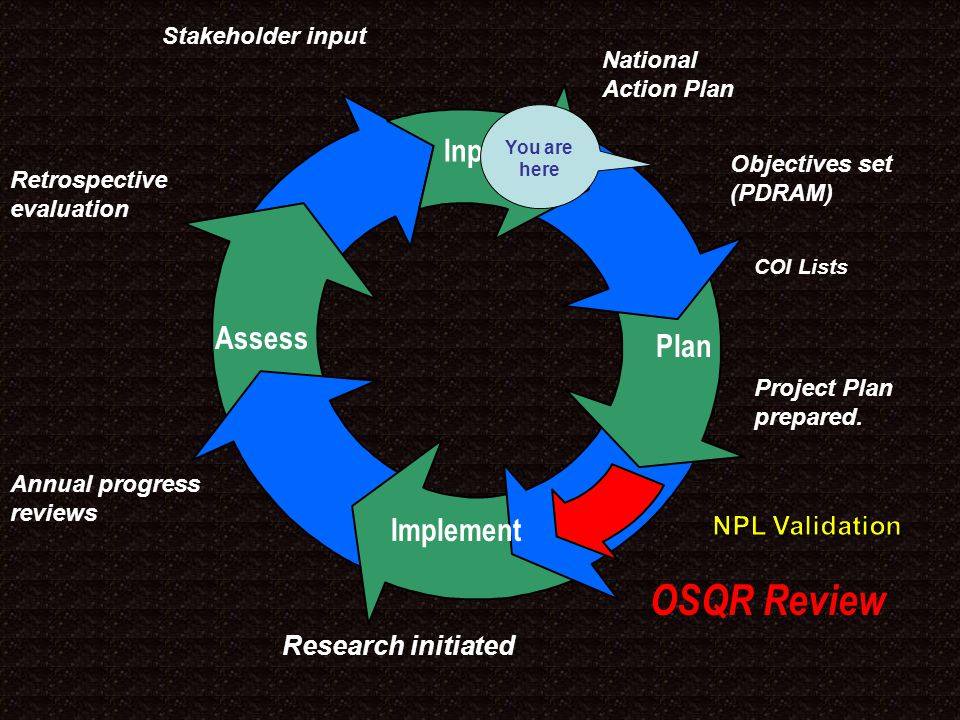National Action Plan OSQR Review Retrospective evaluation Stakeholder input Input Implement Plan Assess Input Objectives set (PDRAM) Project Plan prepared.