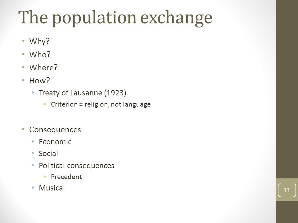 The population exchange Why. Who. Where. How.
