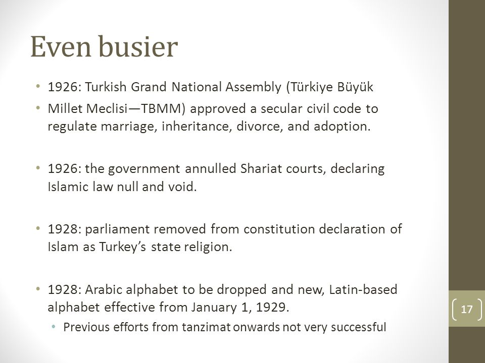 Even busier 1926: Turkish Grand National Assembly (Türkiye Büyük Millet Meclisi—TBMM) approved a secular civil code to regulate marriage, inheritance, divorce, and adoption.