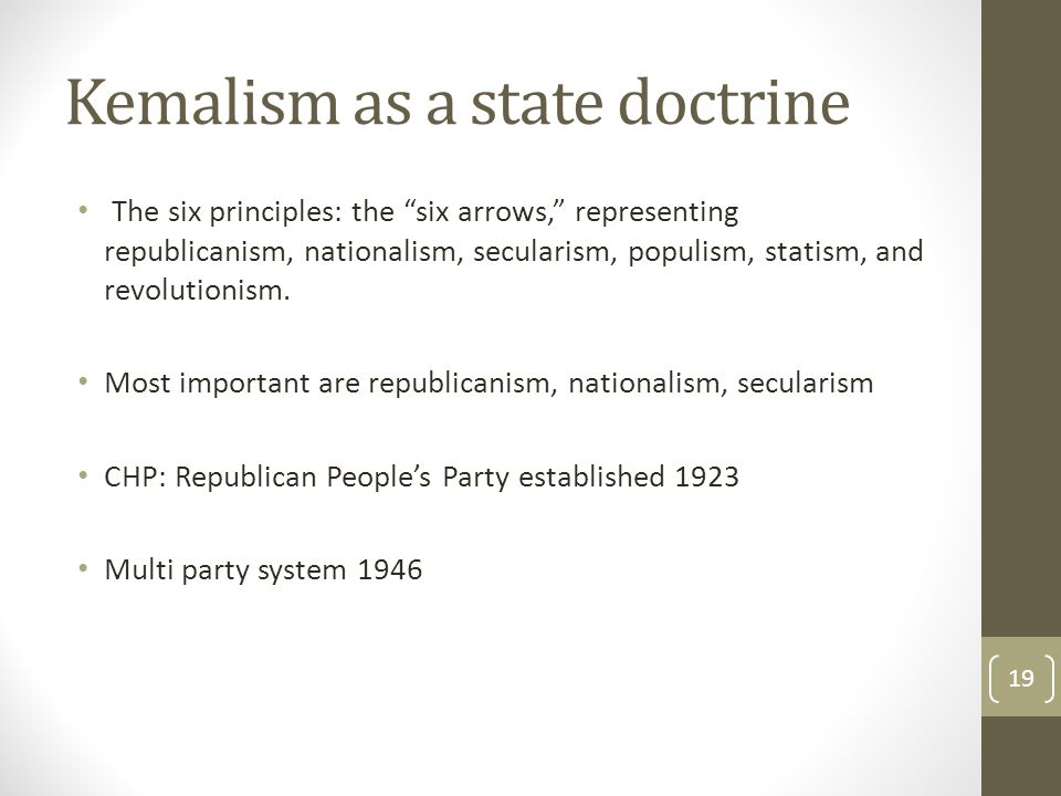 Kemalism as a state doctrine The six principles: the six arrows, representing republicanism, nationalism, secularism, populism, statism, and revolutionism.