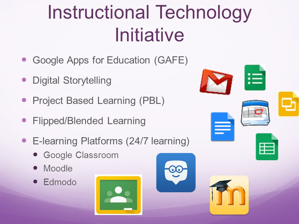 Instructional Technology Initiative Google Apps for Education (GAFE) Digital Storytelling Project Based Learning (PBL) Flipped/Blended Learning E-learning Platforms (24/7 learning) Google Classroom Moodle Edmodo