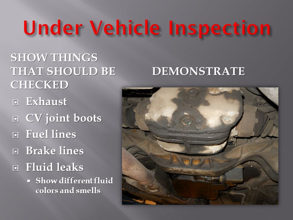 SHOW THINGS THAT SHOULD BE CHECKED DEMONSTRATE  Exhaust  CV joint boots  Fuel lines  Brake lines  Fluid leaks  Show different fluid colors and smells
