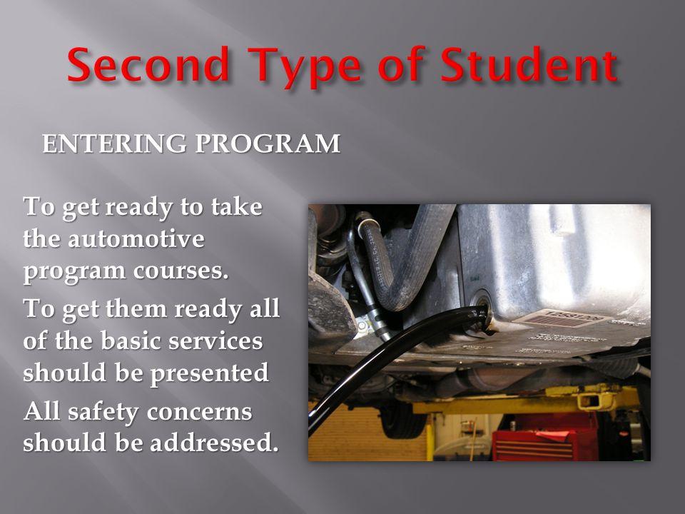 ENTERING PROGRAM To get ready to take the automotive program courses.